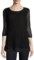 Neiman Marcus Sequined Open-Weave Cashmere Top