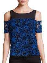 Cooper & Ella Emma Midnight Floral Cold Shoulder Top