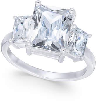 Charter Club Silver-Tone Triple-Crystal Ring