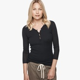 James Perse Cotton Cashmere Rib Henley