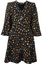 Alexander McQueen Obsession print cape dress - women - Silk/Viscose - 38