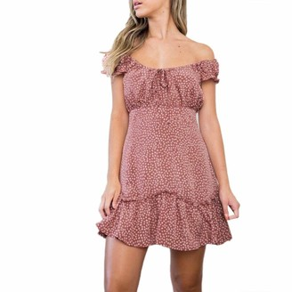 Your New Look Women's Wave Points Off Shoulder Ruffle Mini Sundress Fashion Dots Pattern Short Sleeve Ruffles Dress for Summer Beach Vacation Pink