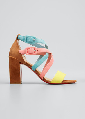 Christian Louboutin Zefira Colorblock Strappy Red Sole Sandals