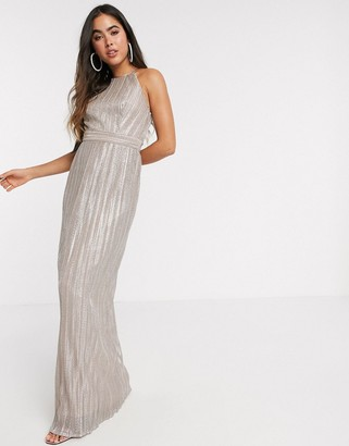 TFNC pleated maxi dress in ecru metallic