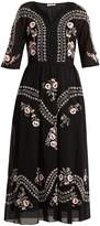 Vilshenko Geneve embroidered short sleeve cotton dress