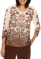 Alfred Dunner Santa Fe 3/4-Sleeve Ombre Scroll Tee