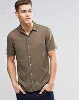 Asos Shirt In Khaki With Revere Collar And Short Sleeves
