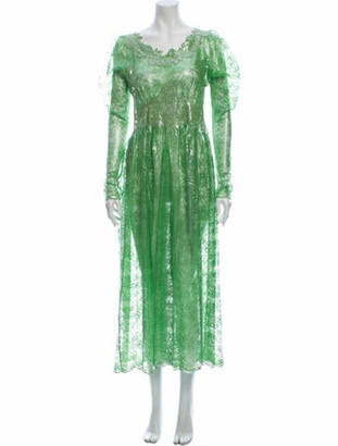 Paco Rabanne Scoop Neck Long Dress Green