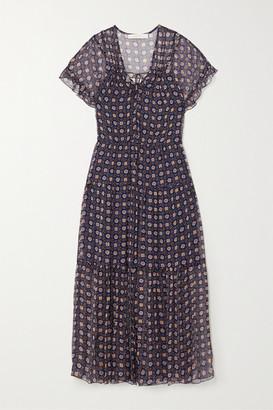 See by Chloe Tiered Printed Silk-georgette Midi Dress - Blue