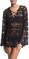 Pilyq Noah Crocheted Tunic Coverup, Black/Gold