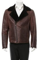 Emporio Armani Leather Faux Shearling Jacket