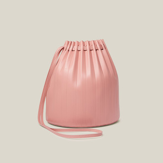 Mansur Gavriel Pink Pleated Leather Bucket Bag One Size