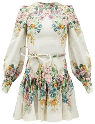 Zimmermann Wavelength Floral-print Tie-waist Linen Mini Dress - Womens - Cream Print