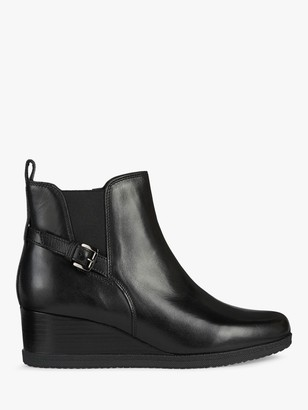 Geox Women's Anylla Leather Wedge Heel Buckle Boots