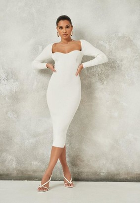 Missguided Cream Rib Knit Sweetheart Midaxi Dress