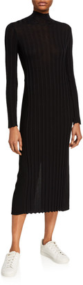 Vince Mixed Rib Long-Sleeve Midi Turtleneck Dress