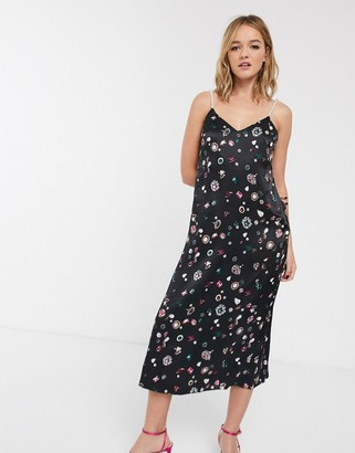And other stories & jewel print pearl strap cami dress in black