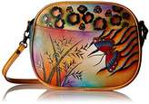 Anuschka Handpainted Leather 8042-JB Multi Compartment Jungle Butterfly Convertible Shoulder Bag