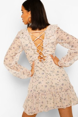 boohoo Long Sleeve Ruffle Floral Tie Back Strap Skater