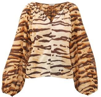 Mes Demoiselles Birmania Tiger-print Cotton-gauze Blouse - Womens - Brown Print