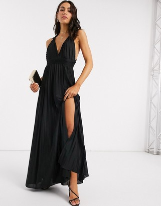 ASOS DESIGN knot strap pleated maxi dress in black