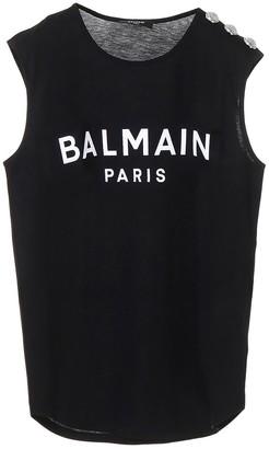 Balmain Logo Sleeveless Top