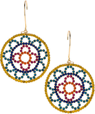 Area Crystal Cupchain Crochet Earrings in Gold Brass & Multi Color Crystal | FWRD