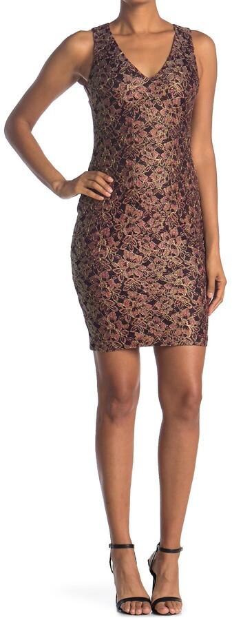 GUESS V-Neck Lace Bodycon Dress