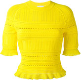 3.1 Phillip Lim knitted lace-detail top - women - Nylon/Polyester/Spandex/Elastane/Viscose - M