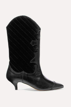 Ganni Leather And Quilted Velvet Knee Boots - Black