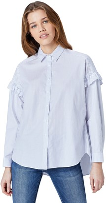 Find. Amazon Brand Women's Blouse in Oversize Fit and Button Down Neck