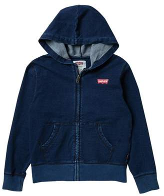 Levi's Washed Indigo Full Zip Hoodie (Big Boys)