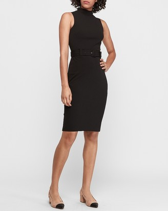 Express Belted Mock Neck Sheath Dress