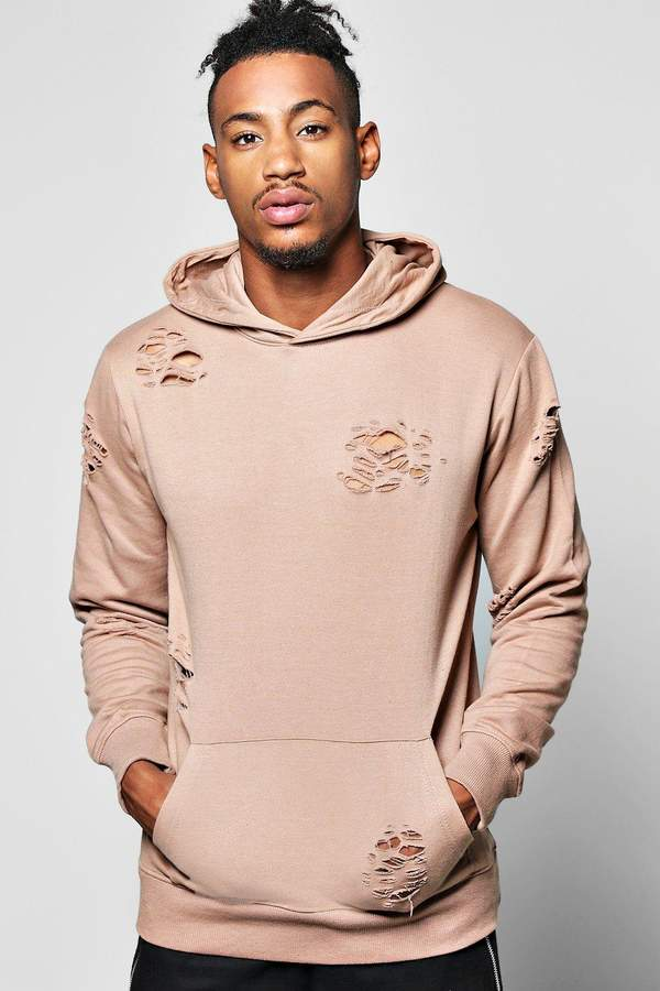 boohoo Over The Head Distressed Hoodie taupe