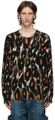 R 13 Black and Brown Leopard Oversized Crewneck Sweater