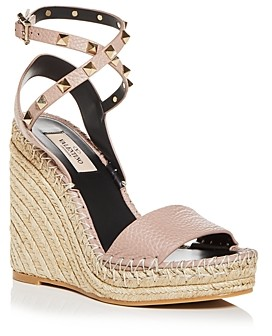 Valentino Women's Rockstud Double Espadrille Wedge Platform Sandals