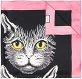 Gucci Mystic Cat print silk scarf with pink trim