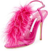 Manolo Blahnik Eila Feather T-Strap 105mm Sandal