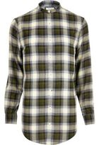 River Island MensGreen casual check longline shirt
