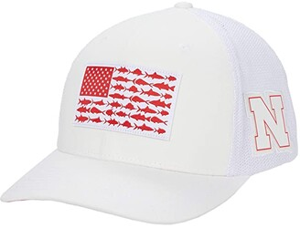 Columbia College Nebraska Cornhuskers PFG Meshtm Fish Flag Ball Cap (NEB White) Caps