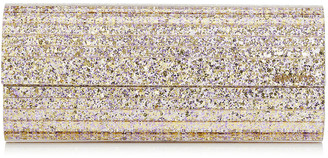 Jimmy Choo SWEETIE Platinum Mix Painted Coarse Glitter Acrylic Clutch Bag with Gold Chain Strap