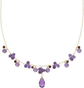 14k Gold Amethyst & Garnet Necklace