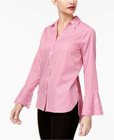 NY Collection Striped Embellished Blouse