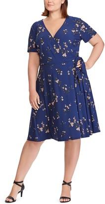 Chaps Plus Size Floral Faux-Wrap Dress