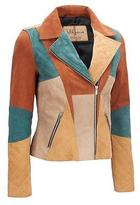 Wilsons Leather Womens Vintage Colorblock Suede Retro Jacket XL Multi-Colored