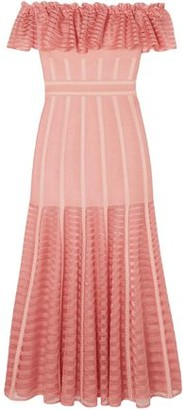 Alexander McQueen Off-the-shoulder Mesh-paneled Ruffled Knitted Midi Dress