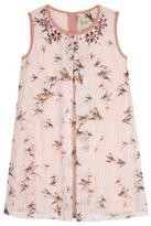 Yumi Bird Print Lace Shift Dress Pink