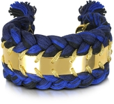 Aurelie Bidermann Copacabana Navy and Black Cotton Double Bracelet