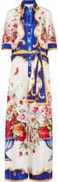Dolce & Gabbana Printed Silk-crepe Jumpsuit - Blue