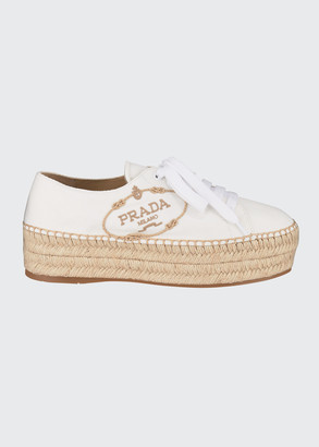 Prada Canvas Logo Espadrille Sneakers